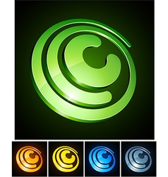 Vibrant 3d c letter vector image