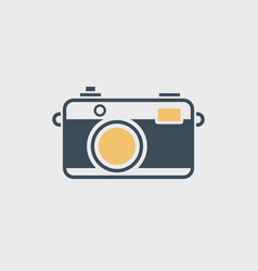Vintage camera icon isolated on gray vector