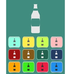 Wine bottle icon with color variations vector