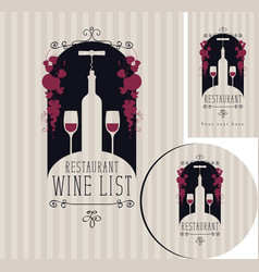 Wine set of elements for design of restaurant vector