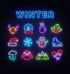 winter neon icons set christmas neon signs design vector image
