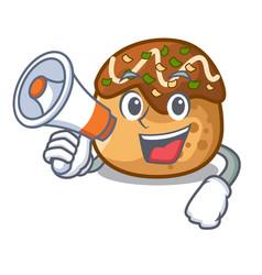 With megaphone cartoon cooking takoyaki in baked vector
