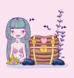 Woman mermaid with wood coffer and plants vector