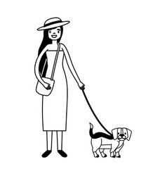 woman walking with her dog vector image