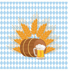 wooden barrel with beverage and mug of beer vector image