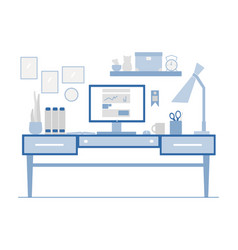 workplace in flat style modern vector image
