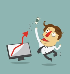 Businessman jump in the air with arrow increase vector image vector image