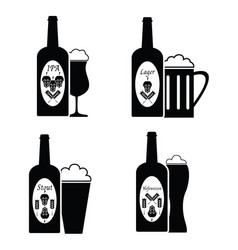 collection of beer glass and bottle icons and vector image