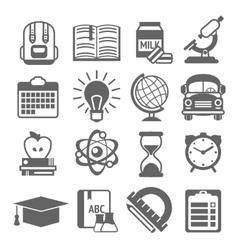 Education icons black and white vector image