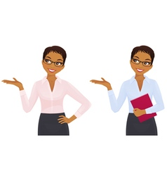Elegant business woman showing looking up vector image vector image