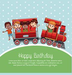 happy birthday train cartoon vector image vector image