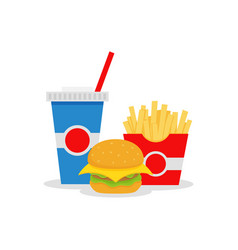 lunch with french fries hamburger and soda vector image