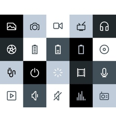 Multimedia icons Flat vector image vector image