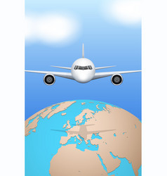 plane flies over globe vector image