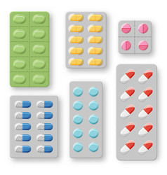 Set of realistic pills blisters with tablets and vector