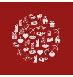 valentine icons in circle vector image