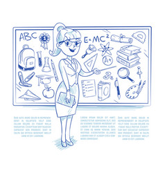 doodle teacher teaching students on the lesson vector image