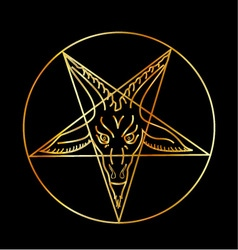 Golden sigil of Baphomet vector image