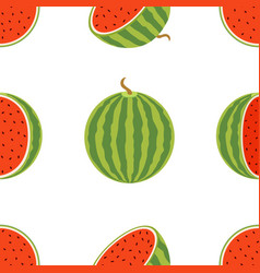 pattern of juicy whole watermelons and slices in vector image vector image
