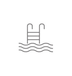 pool with ladder line icon swimming vector image