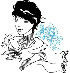 Pretty young woman drawing vector image vector image