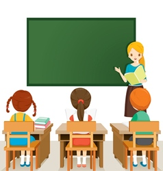 Teacher Teaching Students In Classroom vector image vector image