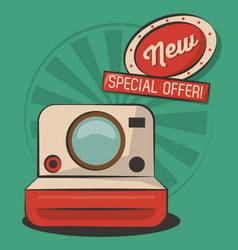 vintage photo camera technology retro poster vector image