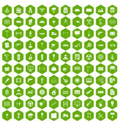 100 building materials icons hexagon green vector