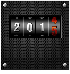 2015 New Year Analog Counter on metal plate vector image