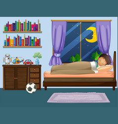 Boy sleeping in bedroom at night vector
