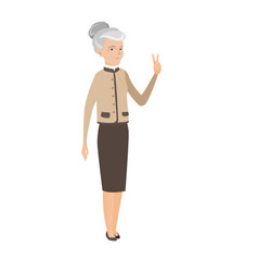Caucasian business woman showing victory gesture vector