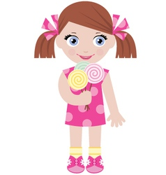 little girl with sugar candies vector image vector image