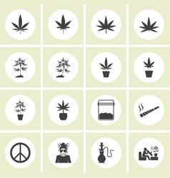 marijuana icon set vector image