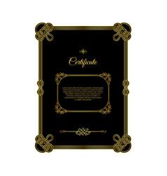 retro golden frame certificate on black vector image