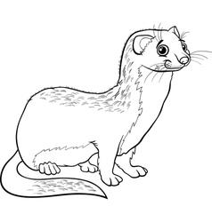 weasel animal cartoon coloring book vector image vector image