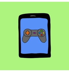Doodle style tablet PC with gamepad vector image vector image