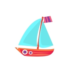 Sailing Toy Boat With Blue Sails vector image vector image