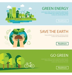 save the world and green energy concept web banner vector image