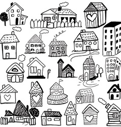 Set of doodled houses vector image vector image