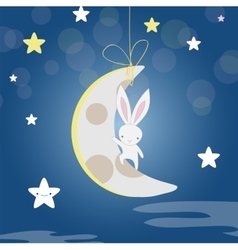 white Bunny moon night vector image