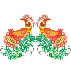 Abstract birds and floral branches vector image