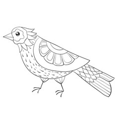 Adult coloring bookpage a cute bird image vector