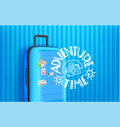 Adventure time concept with blue bag and vector