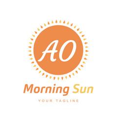 Ao letter logo design with sun icon morning vector