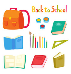 back to school set with school supplies isolated vector image