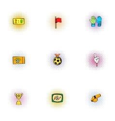 Ball game icons set pop-art style vector image