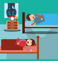 bedroom with kids sleeping in beds room bedside vector image