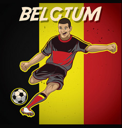 belgium soccer player with flag background vector image