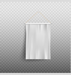 blank white pennant hanging on wall mockup vector image