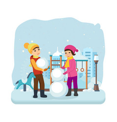 Boy girl in winter clothes sculpt snowman vector